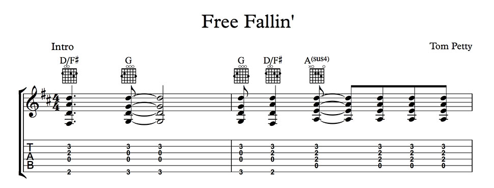 Free Fallin\' - as sung by Tom Petty. Guitar chords and lyrics.