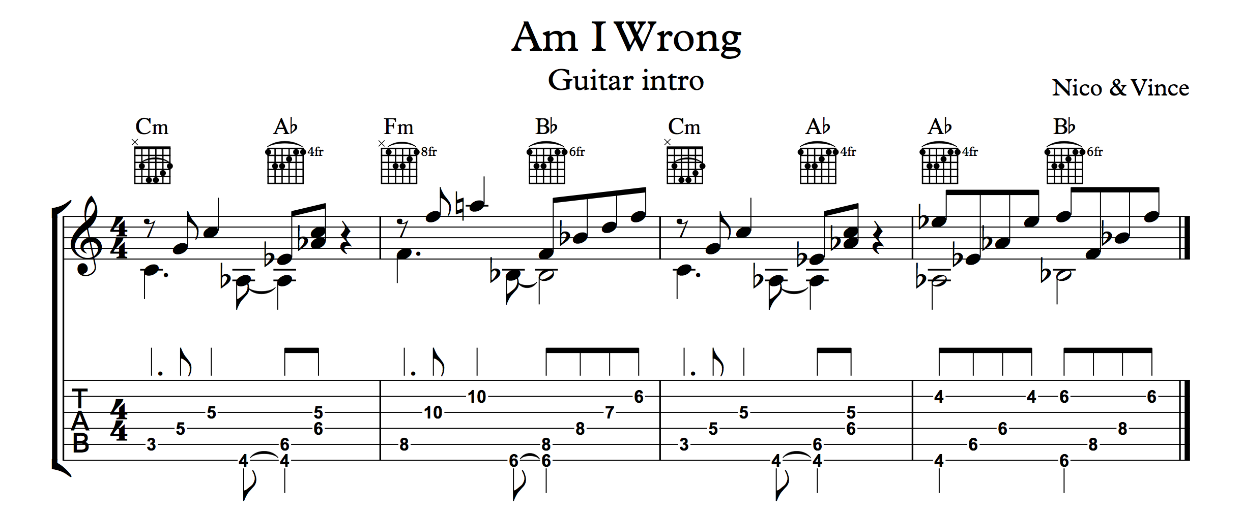 Am I Wrong By Nico Vinz Includes Guitar Intro Lyrics And Guitar Chords