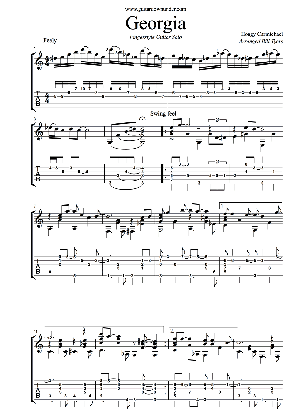 Georgia by hoagy carmichael easy fingerstyle guitar arrangement an error occurred hexwebz Image collections