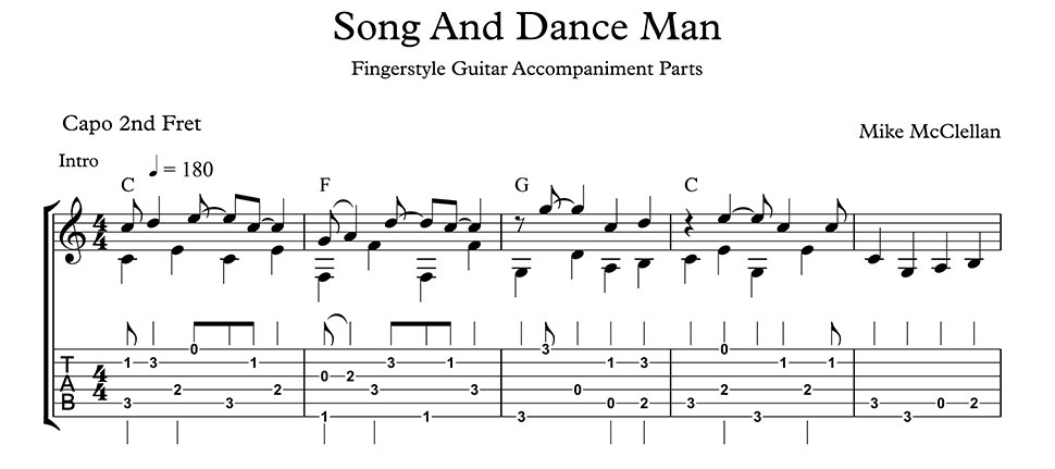Song And Dance Man by Mike McClellan - including guitar chords anf ...
