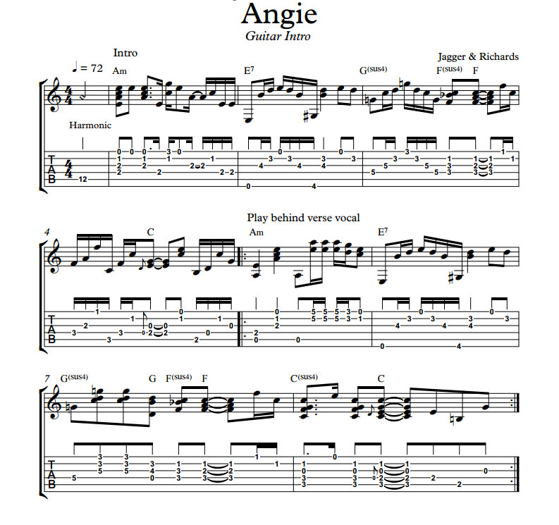 Angie Rolling Stones Classic Arranged For Fingerstyle Guitar By