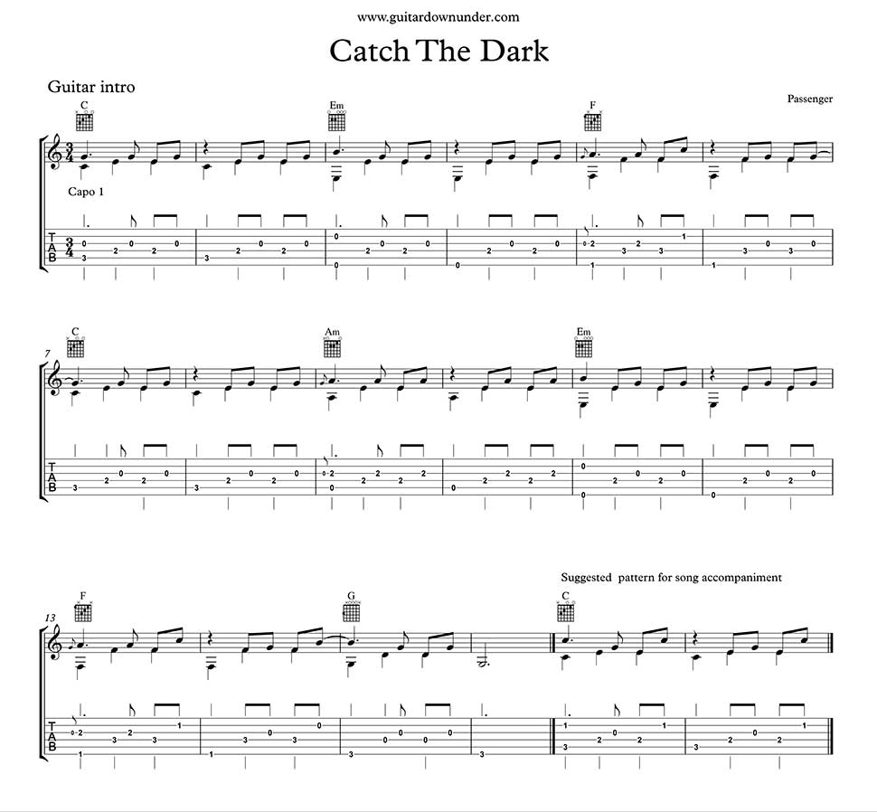 Catch In The Dark By Passenger Fingerstyle Guitar Introduction