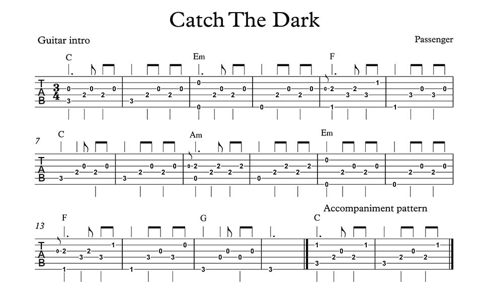 Catch In The Dark Guitar Chords And Lyrics By Passenger Includes