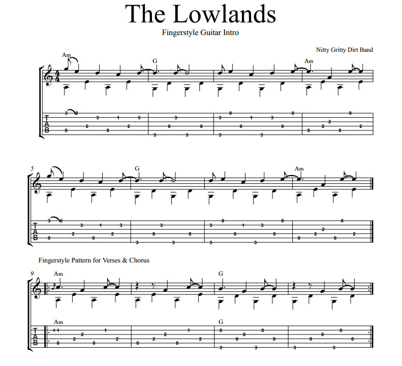 The Lowlands By Nitty Gritty Dirt Band Includes Words And Guitar