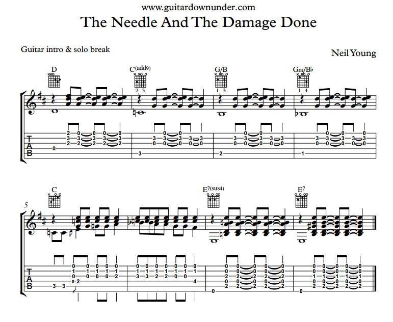 The Needle And The Damage Done By Neil Young Including Words