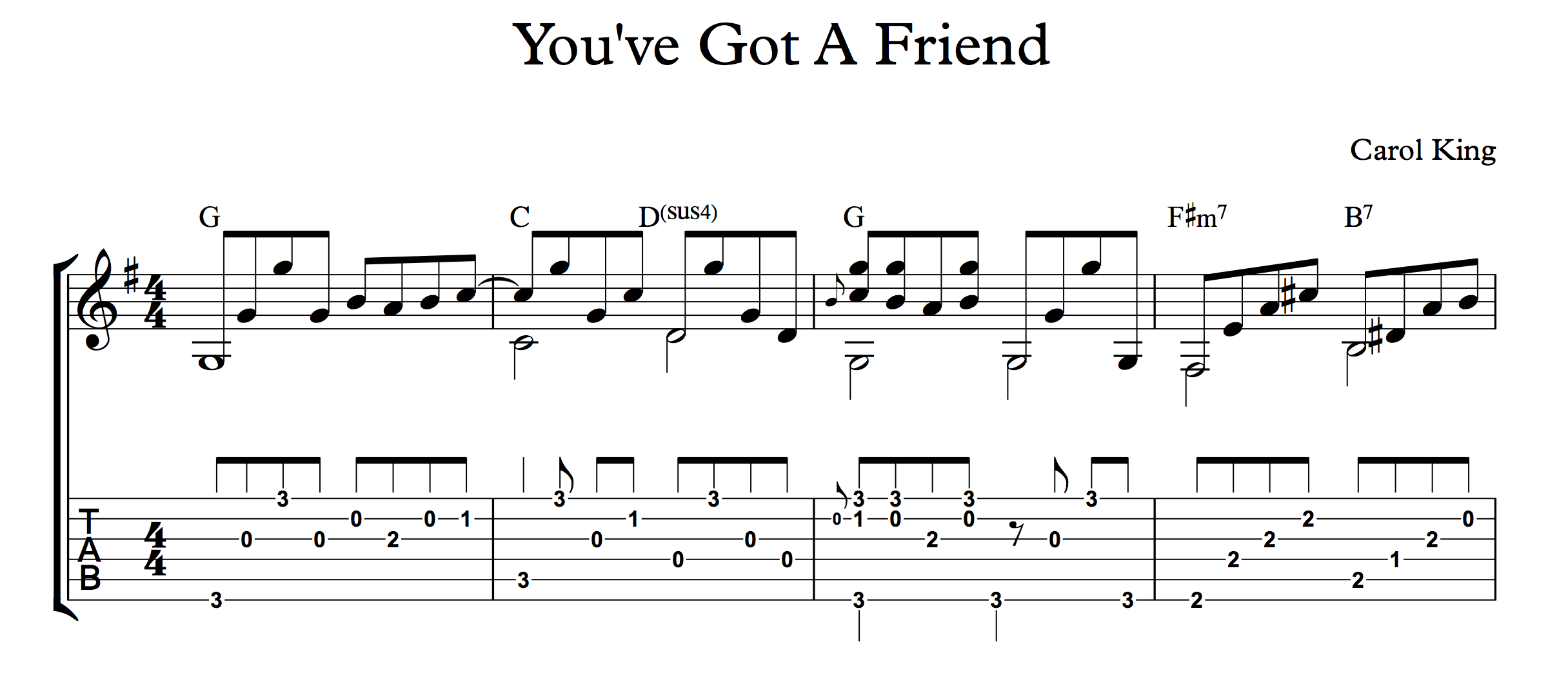 Youve got a friend guitar chords and words youve got a friend for fingerstyle guitar hexwebz Image collections
