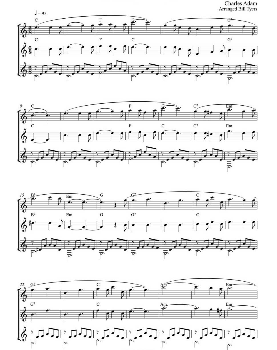 Holy Night By Charles Adams Easy Fingerstyle Guitar Arrangement