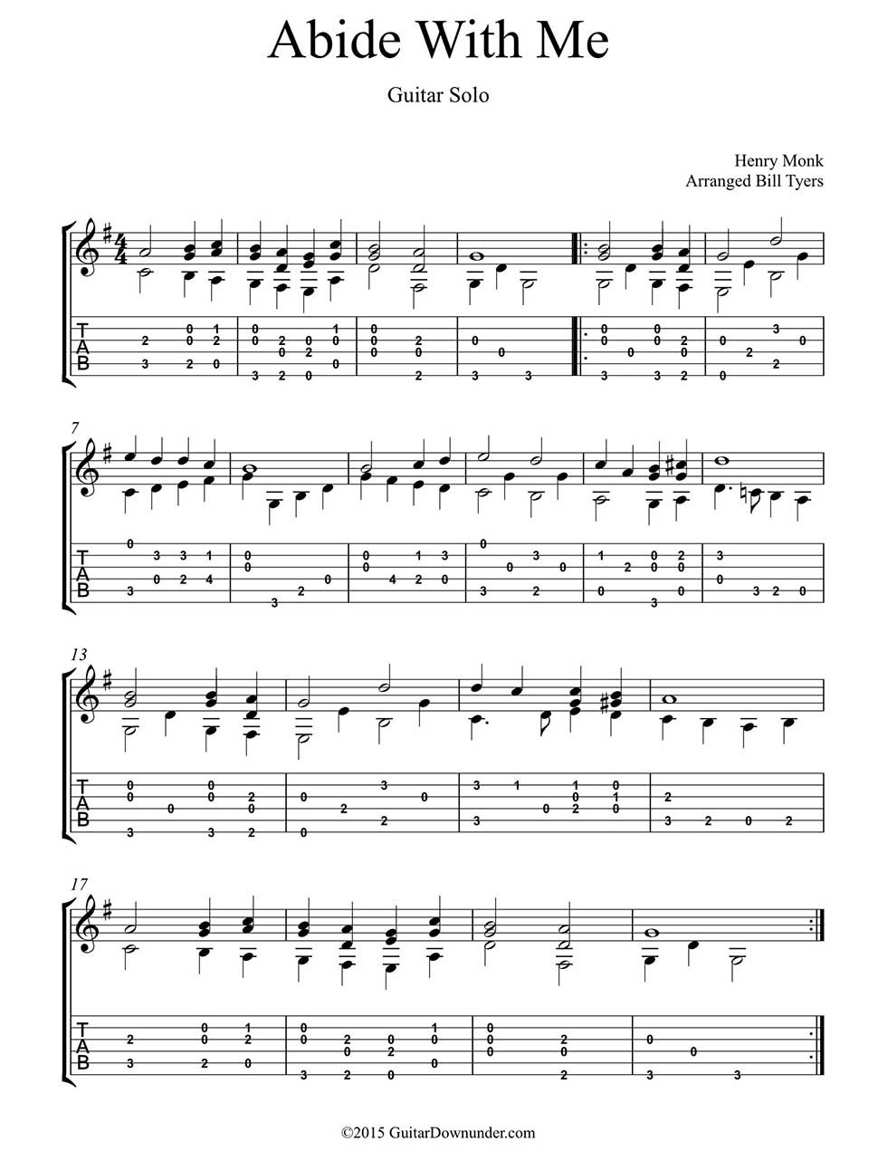 Abide With Me Arranged For Easy Guitar Solo By Bill Tyers