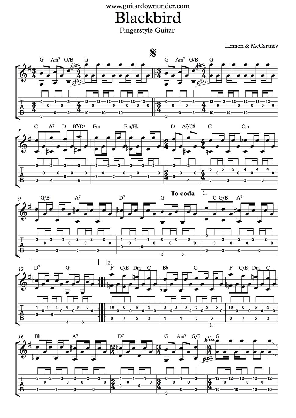 Blackbird Guitar Part As Played By Beatles In Tab And Notation