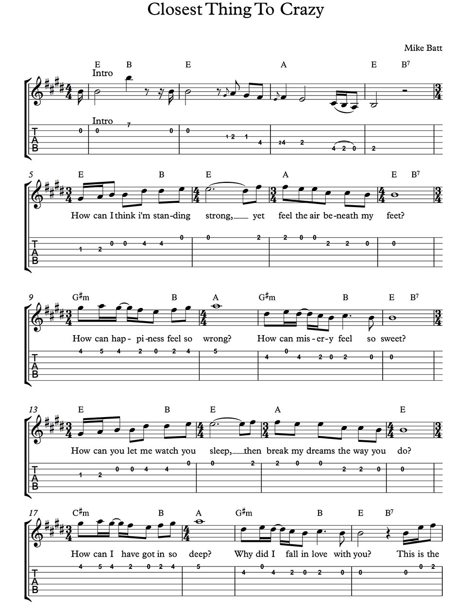 The closest thing to crazy katie melua guitar chords lead sheet download pdf file hexwebz Image collections