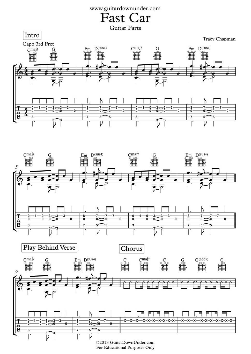 Fast Car Guitar Chords And Tab By Tracy Chapman Arranged For