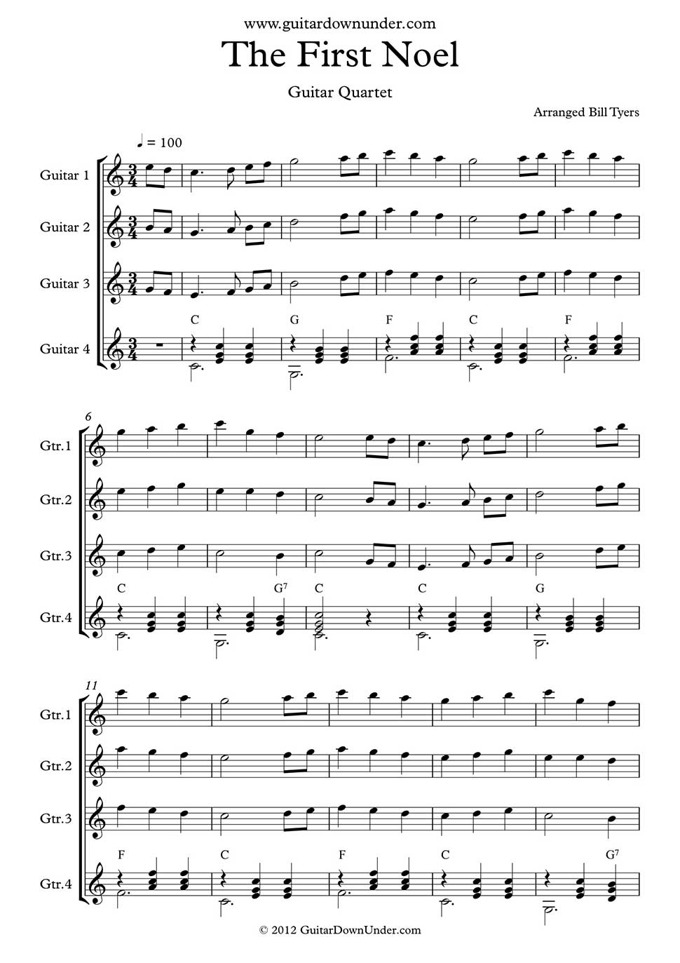 The First Noel Arranged For Classical Guitar Quartet By Bill Tyers