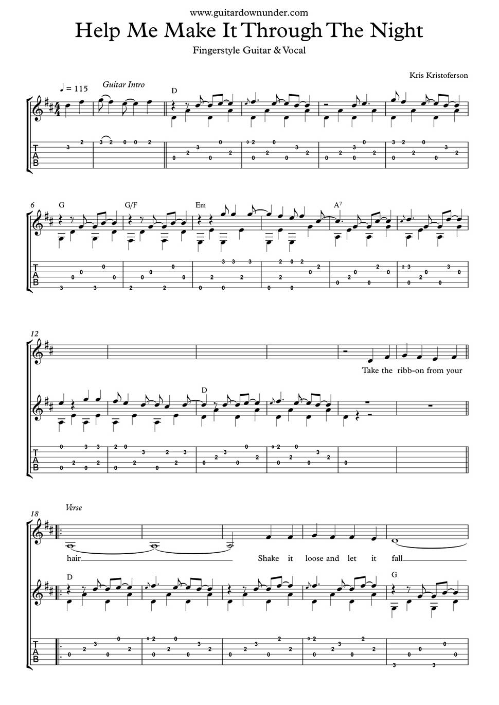 Help Me Make It Through The Night Fingerstyle Guitar Part In Tab