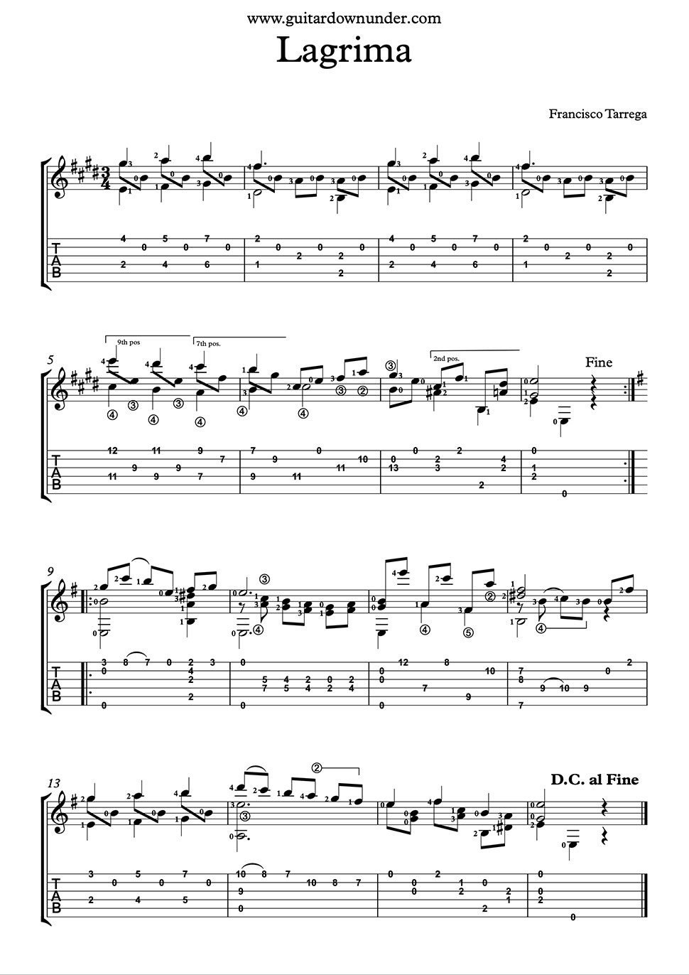 free guitar sheet music