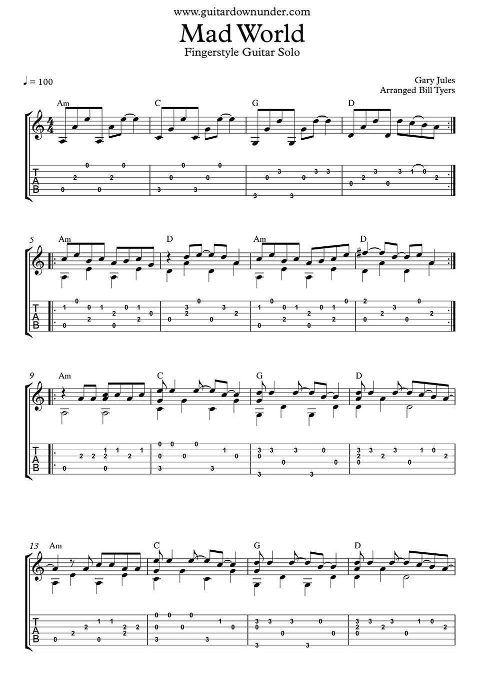 MAD WORLD CHORDS by Gary Jules @ Ultimate-Guitar.Com