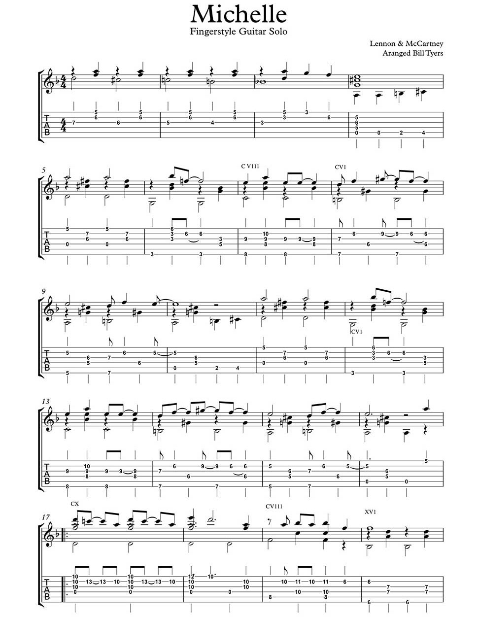 Michelle by lennon mccartney arranged for fingerstyle guitar by an error occurred hexwebz Images