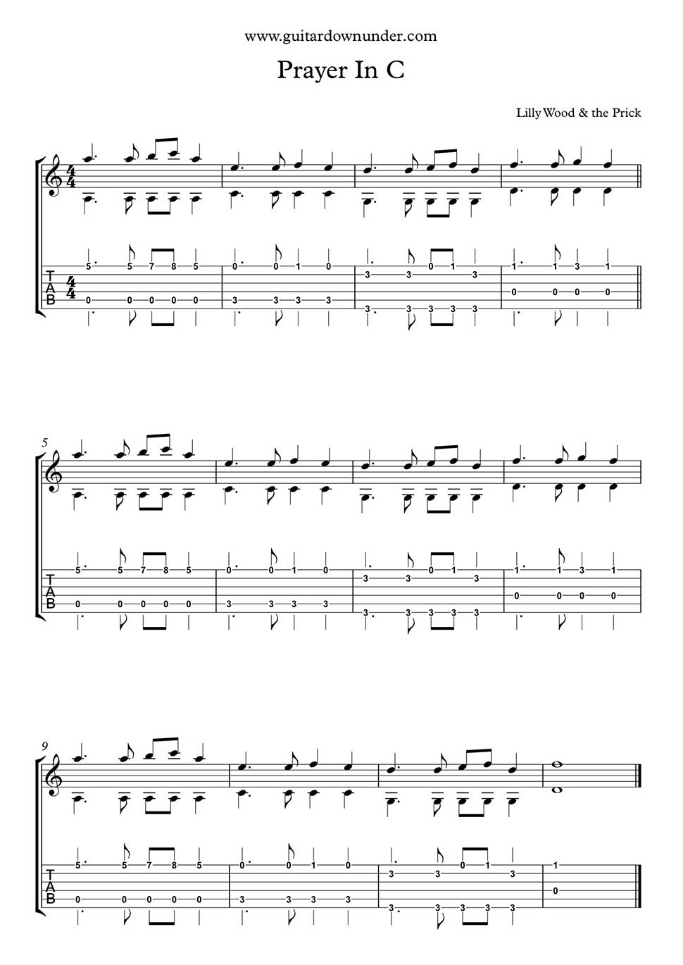 Prayer In C By Lilly Wood The Prick Fingerstyle Guitar Part