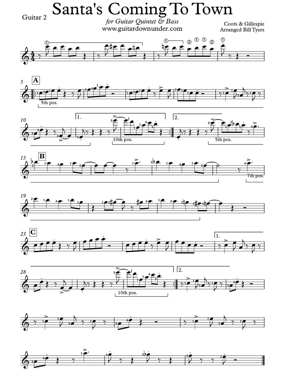 Santa Claus Is Coming To Town Arranged For Guitar Quintet By Bill
