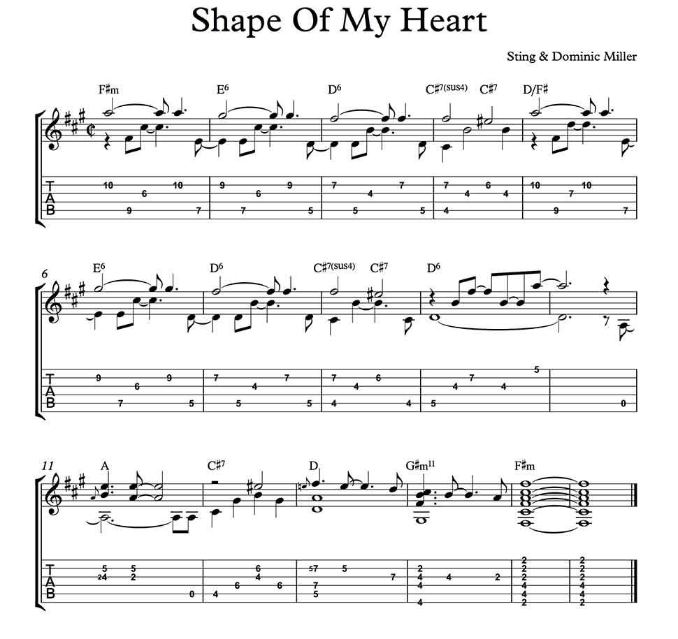 Shape Of My Heart By Sting Dominic Miller Fingerstyle Guitar Solo