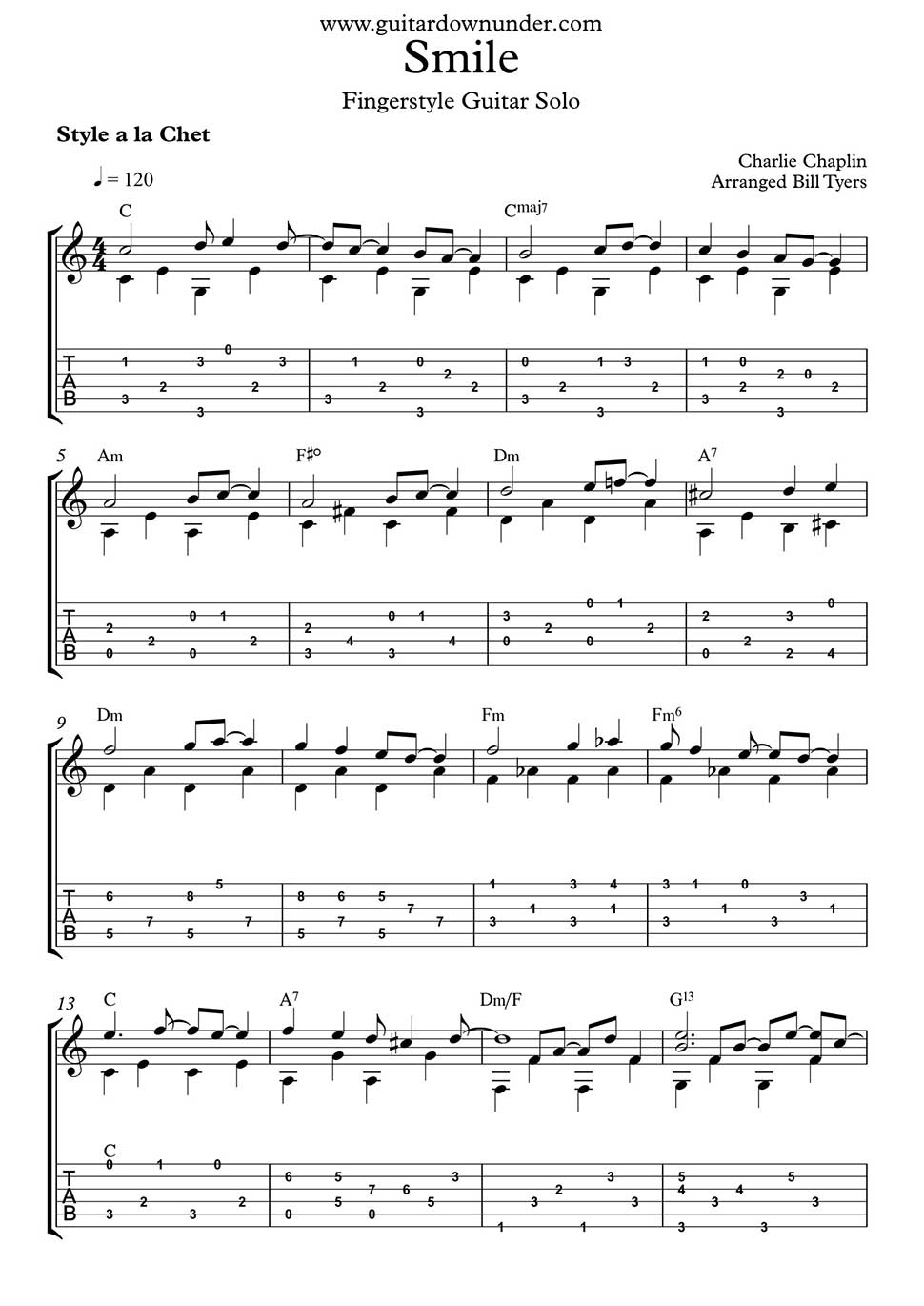 Smile By Charlie Chaplin For Fingerstyle Guitar Solo