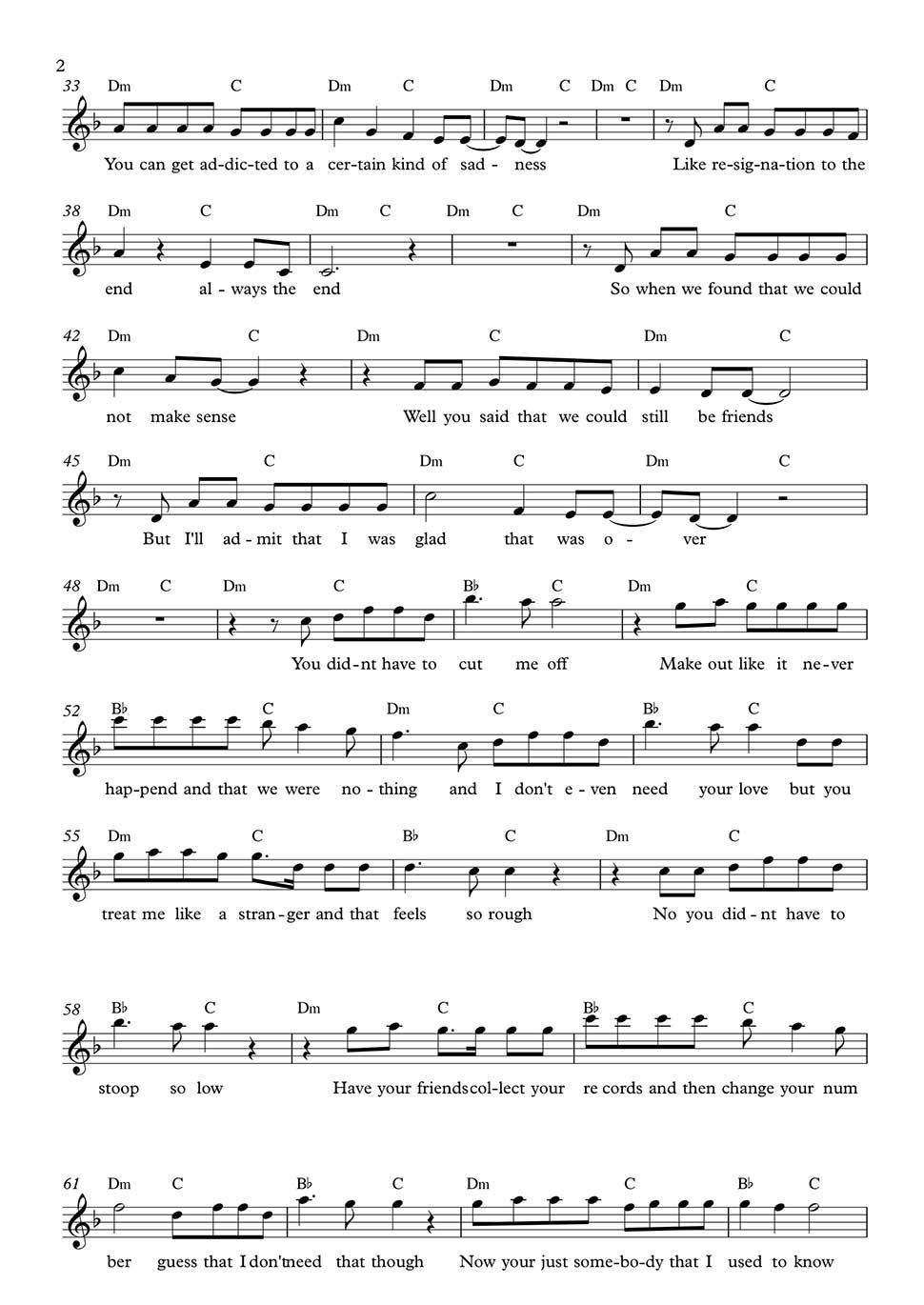 Somebody That I Used To Know By Gotye Includes Guitar Chords And