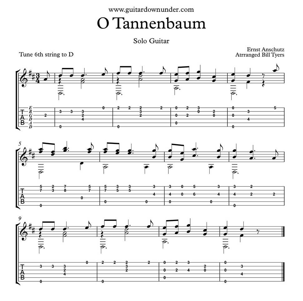 Noten Oh Tannenbaum.O Tannenbaum Arranged For Fingerstyle Guitar By Bill Tyers