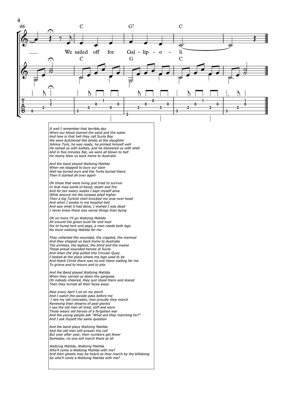 And the band played waltzing matilde by eric bogle fingerstyle download pdf file hexwebz Images