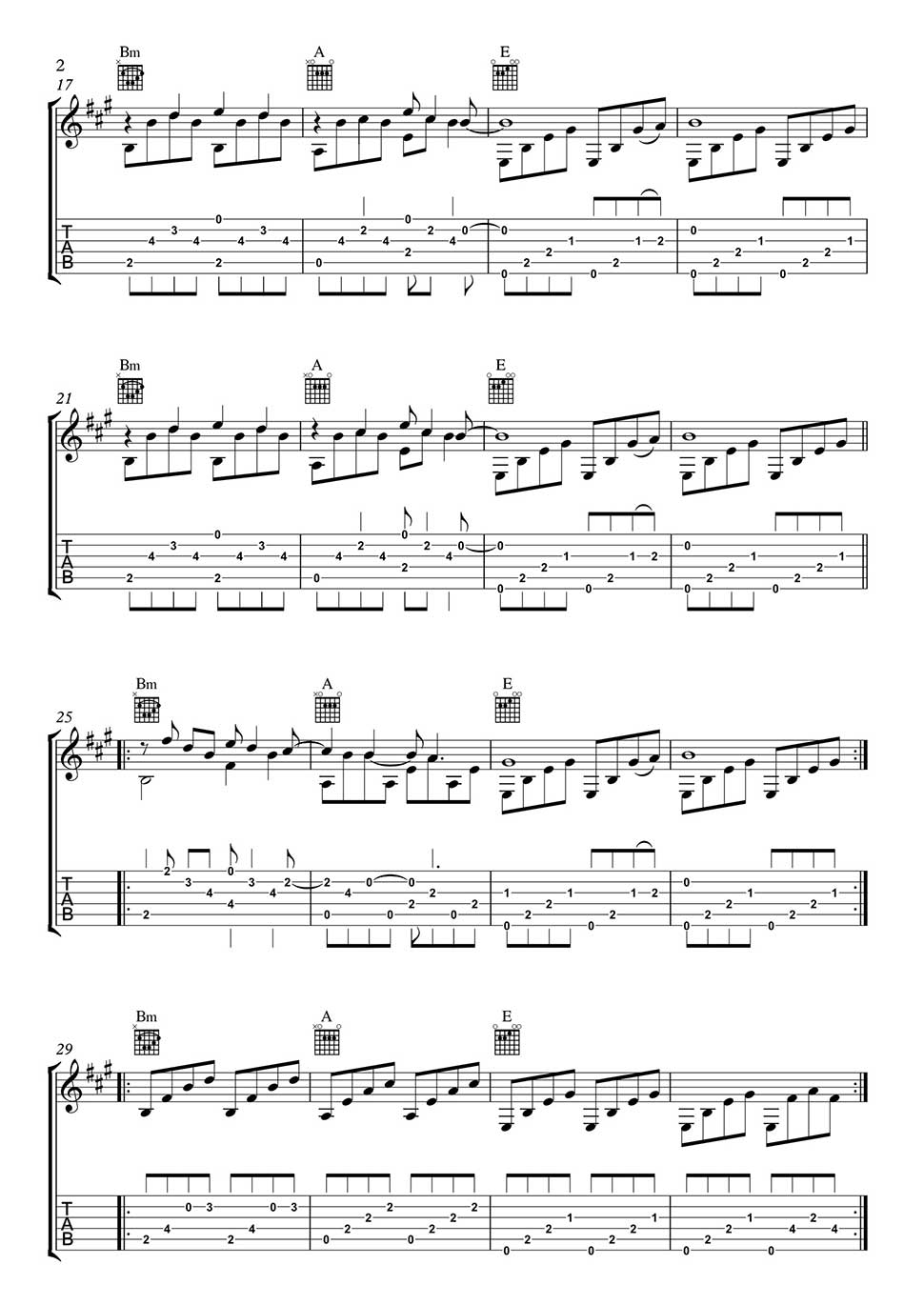 Wicked Game By Chris Isaaks Guitar Part In Tab And Notation