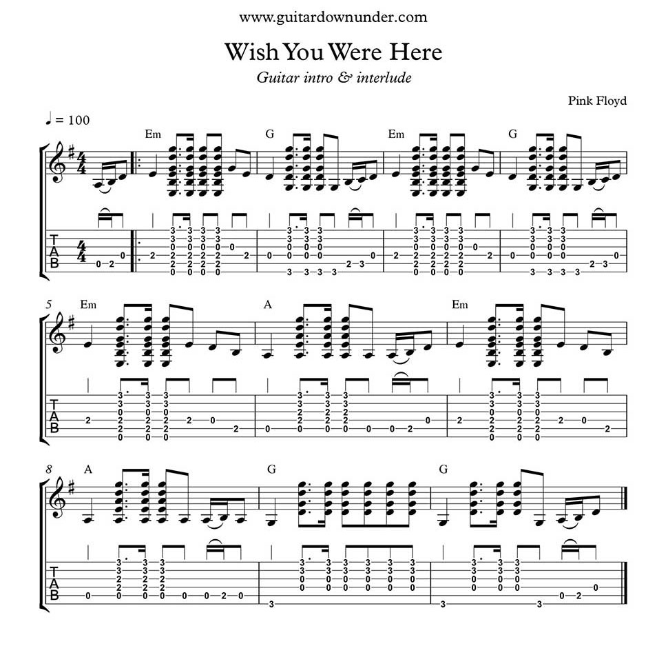 Wish You Were Here by Pink Floyd - Accurate Solo guitar transcription of intro in tab and notation