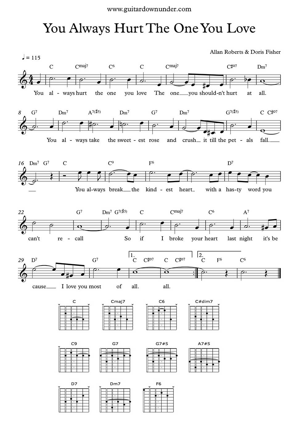 You Always Hurt The One You Love By Ryan Gosling Guitar Chords